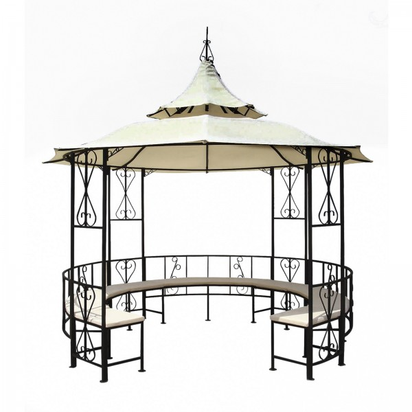 pavillon metall gartenpavillon 3 meter durchmesser bank partyzelt metallpavillon ebay. Black Bedroom Furniture Sets. Home Design Ideas